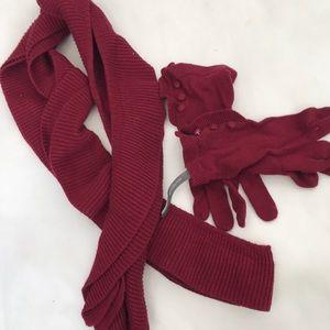 Ann Taylor ruffle scarf glove set